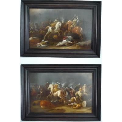 Choc de cavalerie  Jan Jacobsz van der Stoffe, paire de panneaux de chêne école Hollandaise XVII