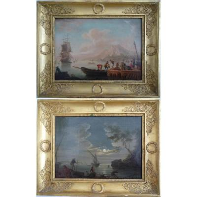 """""""sights Of A Port"""" Pair Of Oils On Canvas Signed Reynard 1828"""