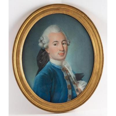 """""""Portrait of a Gentleman"""" dating from the eighteenth century. Pastel on canvas paper. Usual restorations. Dimensions with frame (cm): 65 * 35 Dimensions without frame (cm): 46 * 55"""