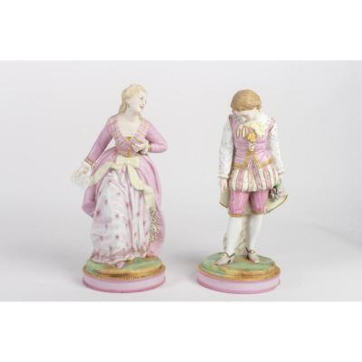 A pair of biscuit figurines. Stamp of Sèvres.