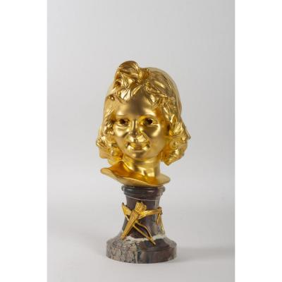Bust Of Young Love By Firmin-marcellin Michelet