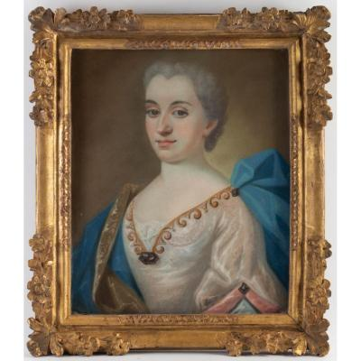 Portrait In Pastel Of Renée De Damian-vinsargues, 18th Century