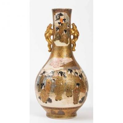 Beautiful Satsuma Vase With Women Decor