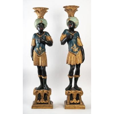Pair Of Nubians In Polychrome Carved Wood, Venice Beginning Of The 19 Eme Century
