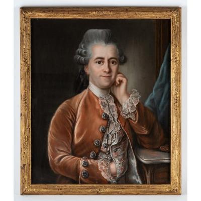 Portrait d'Un Gentilhomme. Pastel 18 ème Siècle