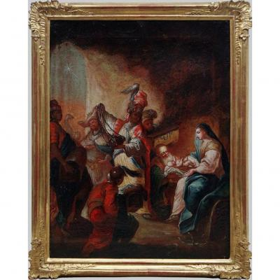 l'Adoration Des Rois Mages ,ecole d'Europe Centrale Vers 1800