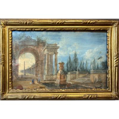 Characters In An Architectural Garden Gouache 18th Century