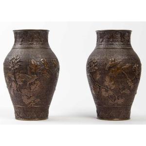 Une Paire De Vases en Bronze Japon 19 Eme Siecle