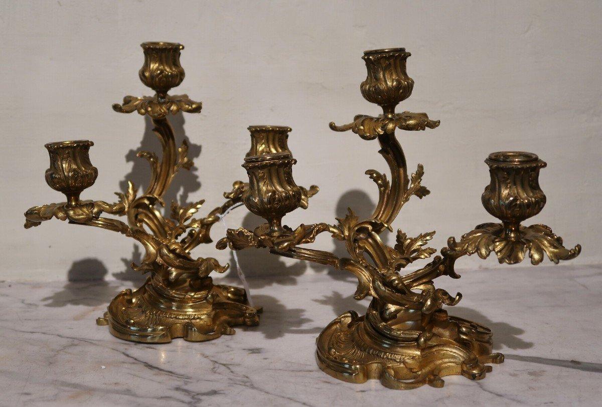 Paire De Petits Candélabres Style Louis XV