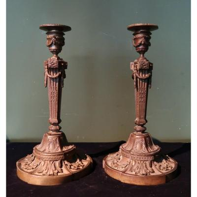 Pair Of 18th Century Taste Candelholders (after A Model By Martincourt)