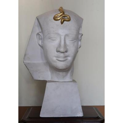 20th Sculpture Representing A Pharaoh With A Golden Snake On The Head.
