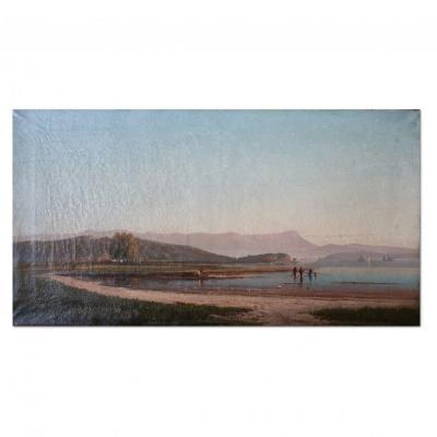 Tableau représentant un paysage lacustre