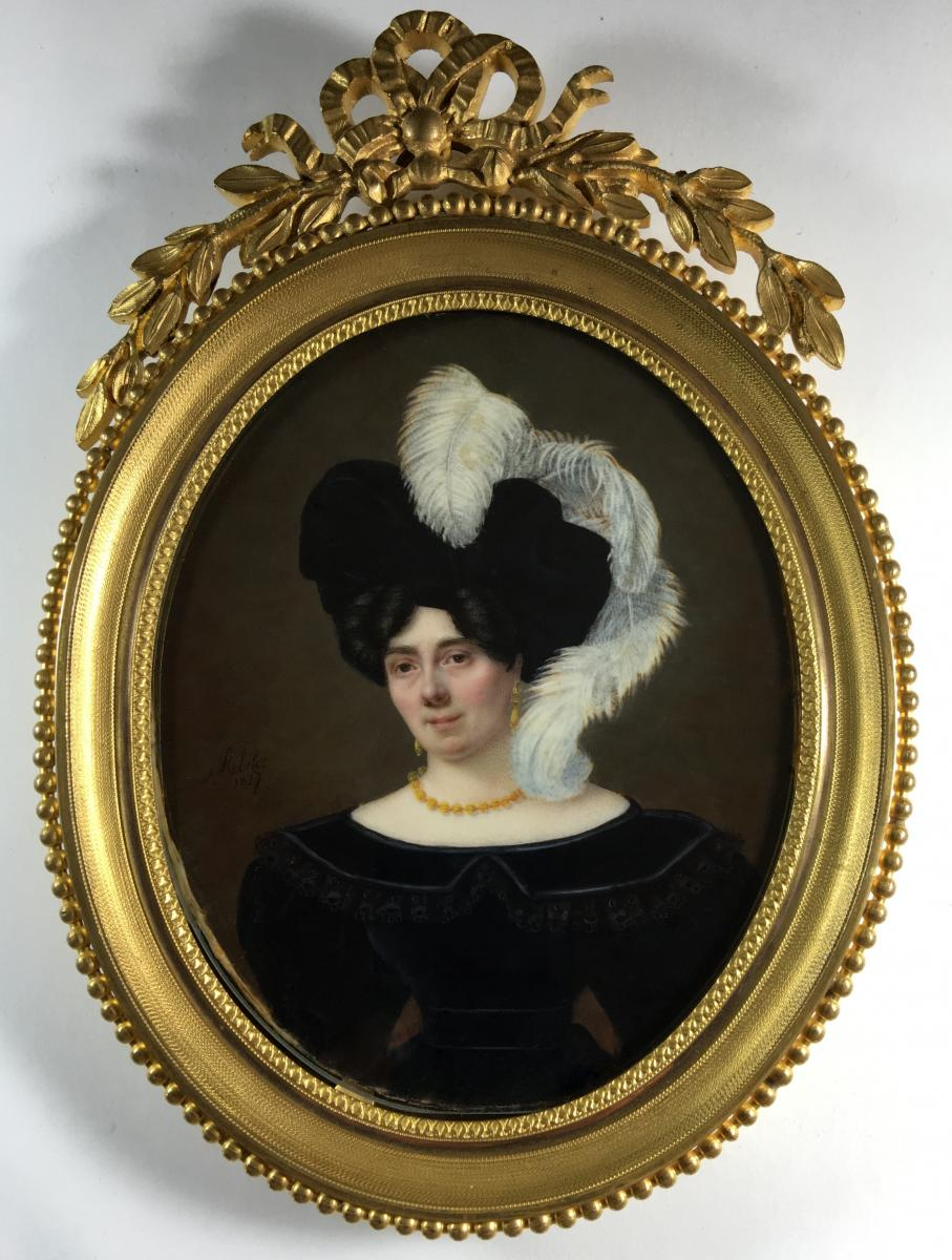 Portrait Miniature Signe J. P. Robelot 1827, Cadre Alphonse Giroux