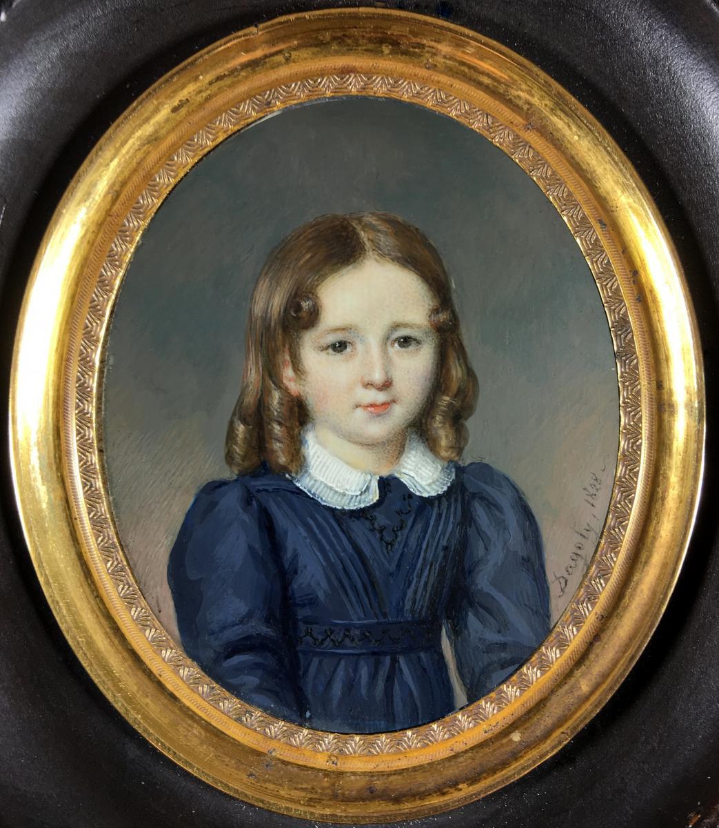 Pierre-Edouard Gautier Dagoty, portrait miniature ,1828