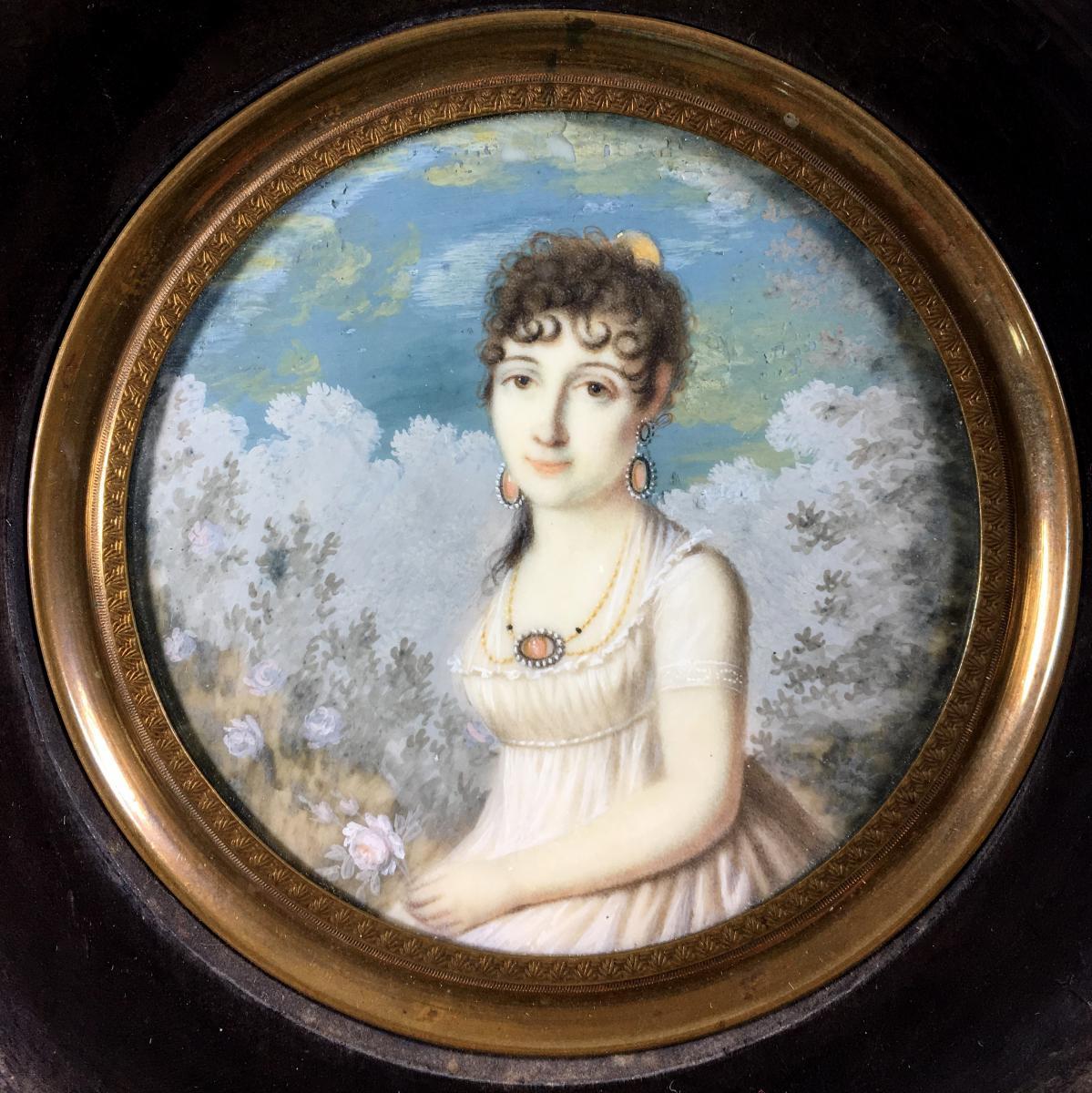 Empire Miniature Portrait, Circa 1810-photo-2