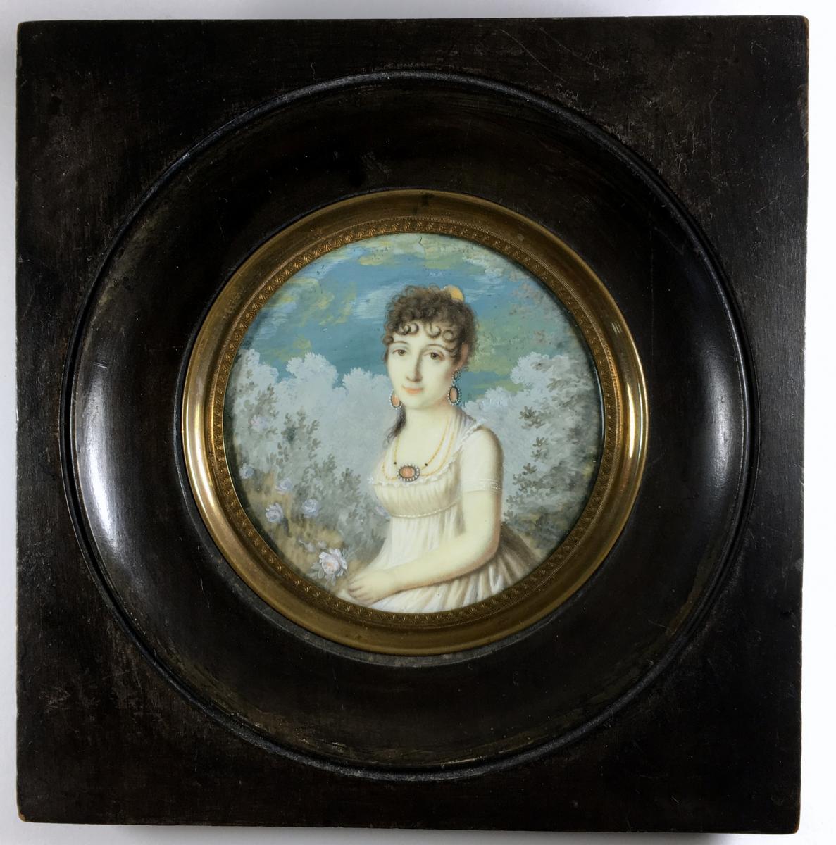 Empire Miniature Portrait, Circa 1810-photo-3