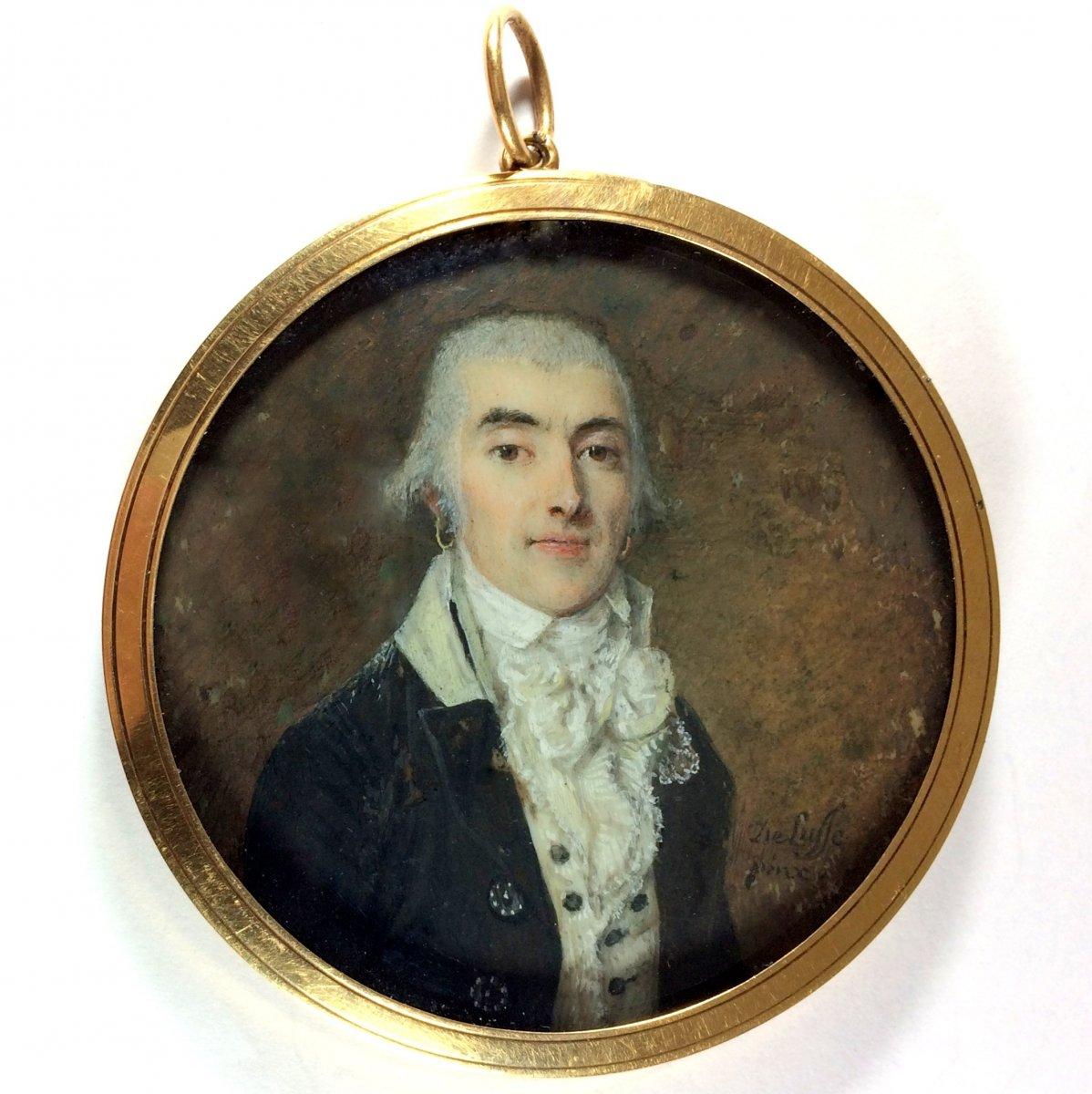 De Lusse Jean-Jacques-Thérésa, portrait miniature d'époque Révolutionnaire, cadre or
