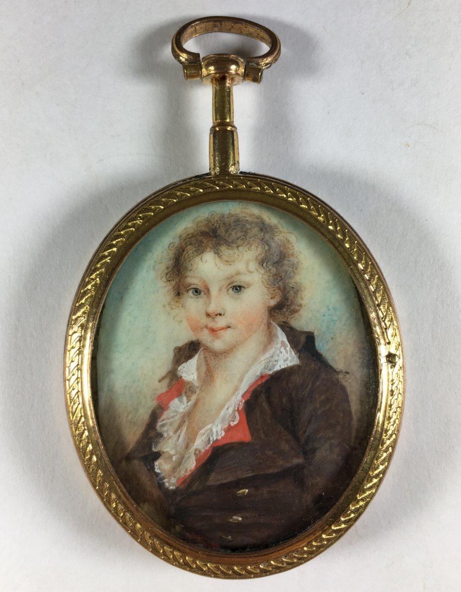 Rare Miniature Portrait Of A Child , Louis XVI Period, 18th C.