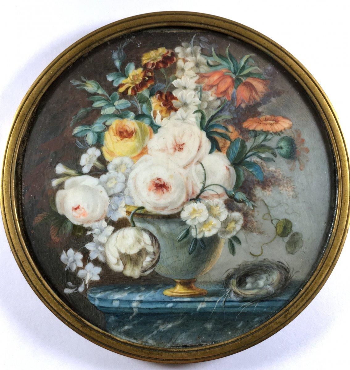 fleurs sur un entablement de marbre, miniature sur ivoire, fin XVIIIe siecle