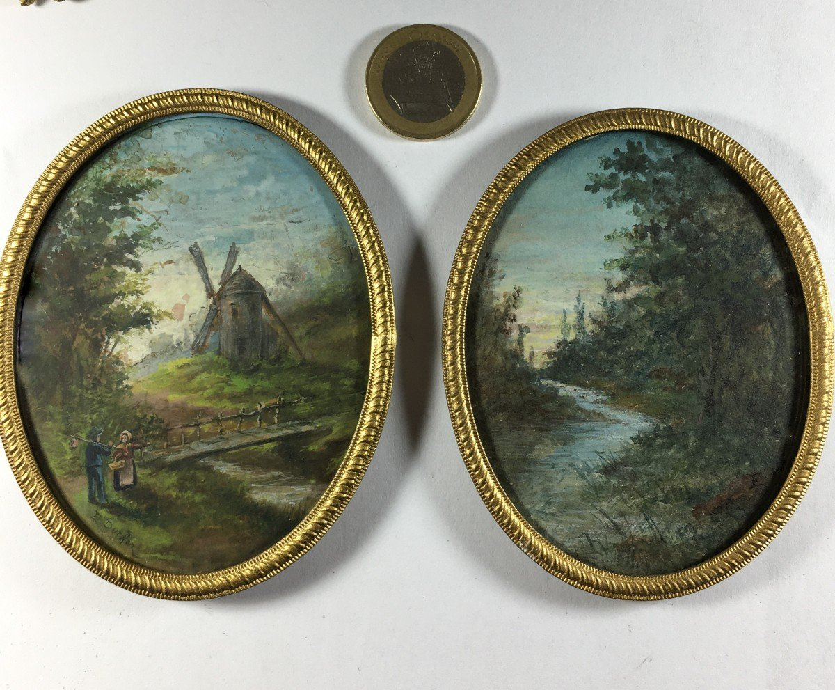 Pair Of Gouaches Signed E. Duchez, Mill And River, 20th Century.
