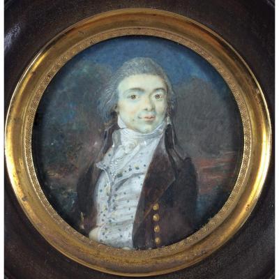 Portrait Miniature, Révolution Française, Vers 1790 Ivoire