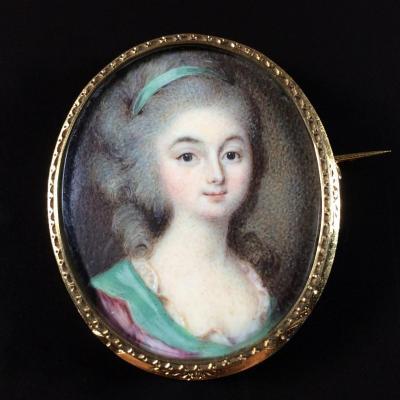 CAMPANA, la marquise de Loménie, portrait miniature vers 1780, broche or