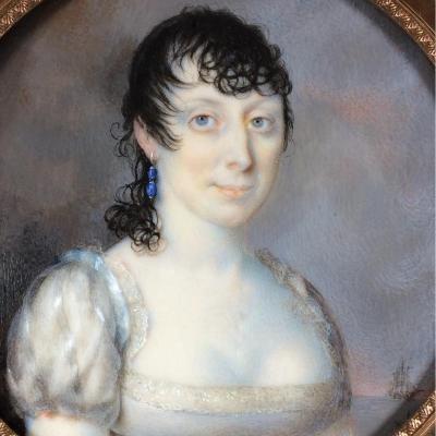 J. Patriarchi, portrait de dame devant un navire, miniature sur ivoire, Italie,ép.  Empire