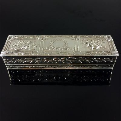 Boite tabatière rectangulaire en argent Louis XVI