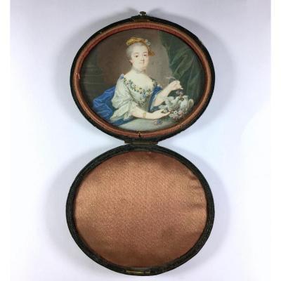Portrait miniature, époque Louis XV, dans un écrin de voyage du XIXe siecle