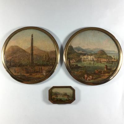 3 vues de Port-Vendres en miniature, XVIIIe siecle