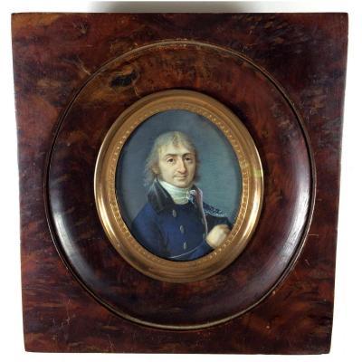 Portrait miniature Empire, commissaire de guerre, vers 1803