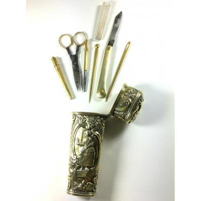 Nécessaire en vermeil, complet : couteau, ciseaux, 7 instruments, XVIIIe