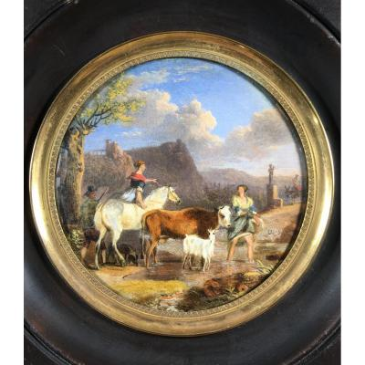 Landscape In A Miniature : Cow, Goat, Horse ... Signed And Dated