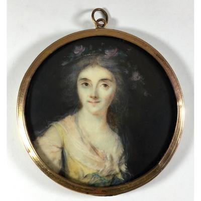 Miniature sur ivoire d'époque Louis XVI