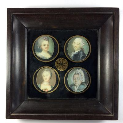4 portraits miniatures , époque Louis XVI