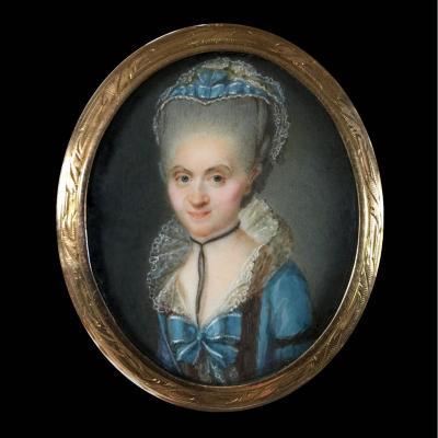 portrait de Mme Maaz, broche, miniature sur ivoire, XVIIIe siècle