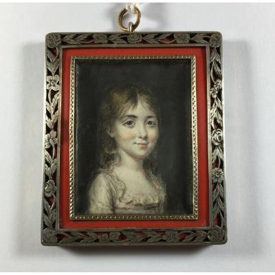 Portrait Of A Girl, Miniature On Ivory Early 19th Century, Silver Frame?