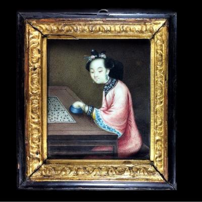 Chinese School, Miniature Portrait Of A Go Player, China Qing Dynasty