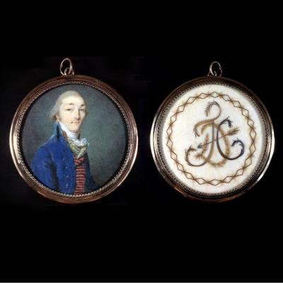 Double Side Sentimental Medallion, Miniature Portrait And Initial Of Hair, 18th Century