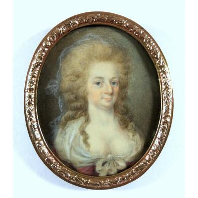 portrait de Louise Von Schwarzenau, miniature, XVIIIe siecle
