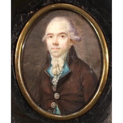 Portrait miniature d'époque Louis XVI