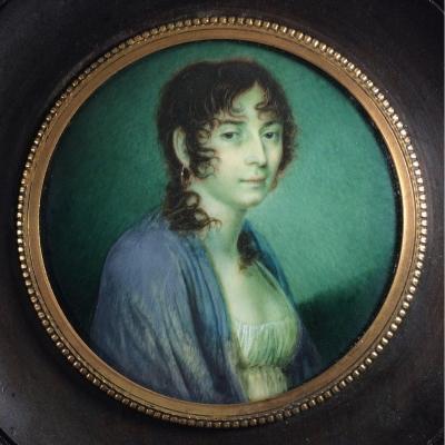 Portrait d'une jeune fille, miniature  d' époque Empire