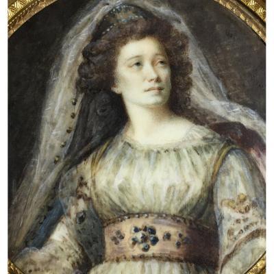 Portrait d'une actrice, miniature sur ivoire du XVIIIe siècle, cadre en bois doré