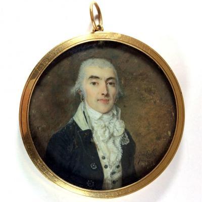 De Lusse Jean-jacques-thérésa, Miniature Portrait Of Revolutionary Period, Gold Frame