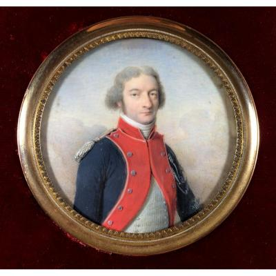Miniature Portrait Of A Gendarmerie Officer In Uniform, Revolutionary Period