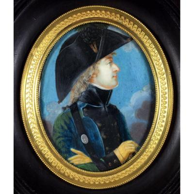 Officer Of The Legion Of Mirabeau Immigration Troop Miniature Portrait Of 1792