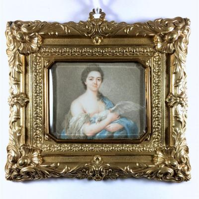 Miniature Portrait Louis XV Period, Lady With A Dove