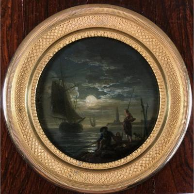 Fishermen In A Moonlight, Miniature On Copper,  18th Century