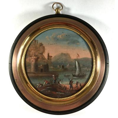 miniature, scène de port animée, huile sur toile, marine, fin du XVIIIe siècle