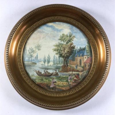 miniature, scène  animée, barques devant un château, fin du XVIIIe siècle